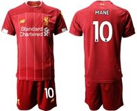 Mens 19-20 Soccer Liverpool Club #10 Sadio Mane Red Home Short Sleeve Suit Jersey