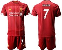 Mens 19-20 Soccer Liverpool Club #7 James Milner Red Home Short Sleeve Suit Jersey