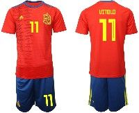 Mens 19-20 Soccer Spain National Team #11 Vitolo Red Home Adidas Short Sleeve Suit Jersey