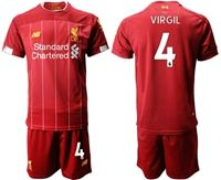 Mens 19-20 Soccer Liverpool Club #4 Virgil Red Home Short Sleeve Suit Jersey