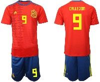 Mens 19-20 Soccer Spain National Team #9 Jose Callejon Adidas Short Sleeve Suit Jersey