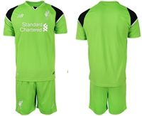 Mens 19-20 Soccer Liverpool Club Blank Green Goalkeeper Short Sleeve Suit Jersey