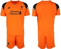 Mens 19-20 Soccer Liverpool Club Blank Orange Goalkeeper Short Sleeve Suit Jersey