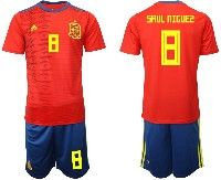 Mens 19-20 Soccer Spain National Team #8 Saul Niguez Red Adidas Short Sleeve Suit Jersey