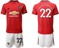 Mens 19-20 Soccer Manchester United Club #22 Henrikh Mkhitaryan Red Home Short Sleeve Suit Jersey