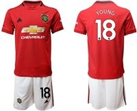 Mens 19-20 Soccer Manchester United Club #18 Ashley Young Red Home Short Sleeve Suit Jersey
