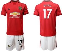 Mens 19-20 Soccer Manchester United Club #17 Daley Blind Red Home Short Sleeve Suit Jersey