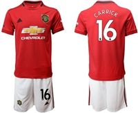 Mens 19-20 Soccer Manchester United Club #16 Michael Carrick Red Home Short Sleeve Suit Jersey