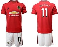 Mens 19-20 Soccer Manchester United Club #11 Anthony Martial Red Home Short Sleeve Suit Jersey
