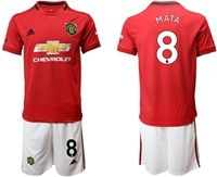 Mens 19-20 Soccer Manchester United Club #8 Juan Mata Red Home Short Sleeve Suit Jersey