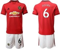 Mens 19-20 Soccer Manchester United Club #6 Paul Pogba Red Home Short Sleeve Suit Jersey
