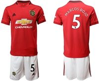 Mens 19-20 Soccer Manchester United Club #5 Marcos Rojo Red Home Short Sleeve Suit Jersey
