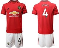 Mens 19-20 Soccer Manchester United Club #4 Phil Jones Red Home Short Sleeve Suit Jersey