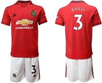 Mens 19-20 Soccer Manchester United Club #3 Bailly Red Home Short Sleeve Suit Jersey