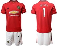 Mens 19-20 Soccer Manchester United Club #1 David De Gea Red Home Short Sleeve Suit Jersey