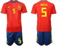 Mens 19-20 Soccer Spain National Team #5 Sergio Busquets Red Adidas Short Sleeve Suit Jersey