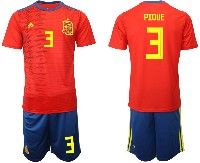 Mens 19-20 Soccer Spain National Team #3 Gerard Pique Red Adidas Short Sleeve Suit Jersey