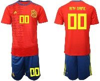 Mens 19-20 Soccer Spain National Team ( Custom Made ) Red Adidas Short Sleeve Suit Jersey