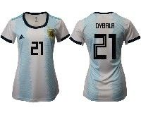 Women 19-20 Soccer Argentina National Team #21 Paulo Dybala White Adidas Home Short Sleeve Jersey