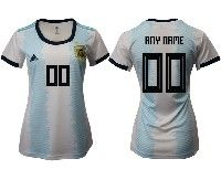 Women 19-20 Soccer Argentina National Team ( Custom Made ) White Adidas Home Short Sleeve Jersey