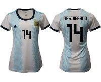 Women 19-20 Soccer Argentina National Team #14 Javier Mascherano White Adidas Home Short Sleeve Jersey