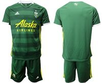 Mens 19-20 Soccer Portland Timbers Club Blank Green Short Sleeve Suit Adidas Jersey