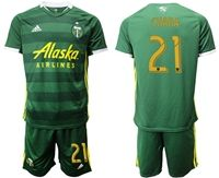 Mens 19-20 Soccer Portland Timbers Club #21 Diego Chara Green Short Sleeve Suit Adidas Jersey