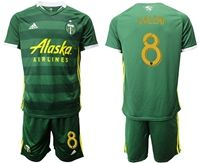 Mens 19-20 Soccer Portland Timbers Club #8 Valeri Green Short Sleeve Suit Adidas Jersey