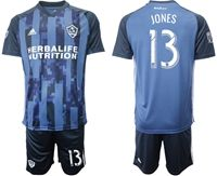Mens 19-20 Soccer Galaxy Club #13 Cobi Jones Blue Away Short Sleeve Suit Jersey