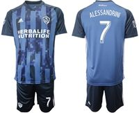 Mens 19-20 Soccer Galaxy Club #7 Romain Alessandrini Blue Away Short Sleeve Suit Jersey