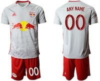 Mens 19-20 Soccer New York Red Bulls Club ( Custom Made ) White Home Short Sleeve Suit Jersey