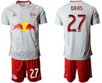 Mens 19-20 Soccer New York Red Bulls Club #27 Davis White Home Short Sleeve Suit Jersey
