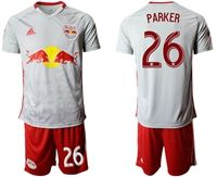 Mens 19-20 Soccer New York Red Bulls Club #26 Parker White Home Short Sleeve Suit Jersey