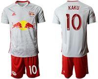 Mens 19-20 Soccer New York Red Bulls Club #10 Kaku White Home Short Sleeve Suit Jersey