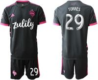 Mens 19-20 Soccer Seattle Sounders Fc Club #29 Torres Black Home Short Sleeve Suit Jersey