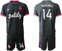 Mens 19-20 Soccer Seattle Sounders Fc Club #14 Marshall Black Home Short Sleeve Suit Jersey