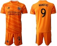 Mens 19-20 Soccer Houston Dynamo Club #9 Manotas Orange Home Short Sleeve Suit Jersey