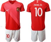 Mens 19-20 Soccer Club Guangzhou Evergrande Taobao Fc #10 Zheng Zh. Red Home Short Sleeve Suit Jersey