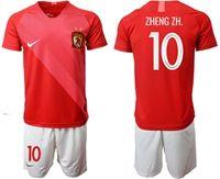 Mens 19-20 Soccer Club Guangzhou Evergrande Taobao Fc #10 Zheng Zh. Red Home Short Sleeve Suit Jersey