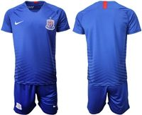 Mens 19-20 Soccer Club Shanghai Greenland Shenhua Fc (custom Made) Blue Home Short Sleeve Suit Jersey