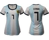 Women 19-20 Soccer Argentina National Team #7 Mauro Icardi White Adidas Home Short Sleeve Jersey