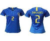 Women 19-20 Soccer Brazil National Team #2 Dani Alves Blue Away Nike Short Sleeve Jersey