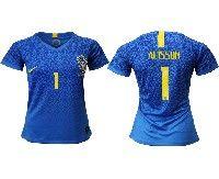 Women 19-20 Soccer Brazil National Team #1 Alisson Blue Away Nike Short Sleeve Jersey