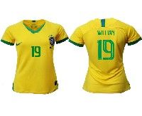 Women 19-20 Soccer Brazil National Team #19 Willian Yellow Home Nike Short Sleeve Jersey