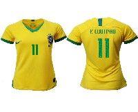 Women 19-20 Soccer Brazil National Team #11 Philippe Coutinho Yellow Home Nike Short Sleeve Jersey