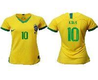 Women 19-20 Soccer Brazil National Team #10 Kaka Yellow Home Nike Short Sleeve Jersey
