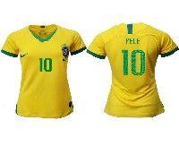 Women 19-20 Soccer Brazil National Team #10 Pele Yellow Home Nike Short Sleeve Jersey