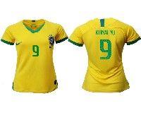 Women 19-20 Soccer Brazil National Team #9 Ronalno Yellow Home Nike Short Sleeve Jersey