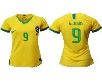 Women 19-20 Soccer Brazil National Team #9 Gabriel Jesus Yellow Home Nike Short Sleeve Jersey