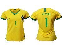Women 19-20 Soccer Brazil National Team #1 Alisson Yellow Home Nike Short Sleeve Jersey